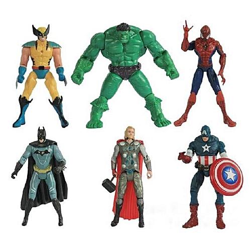 BlueLife 6Pcs Avengers Toy Figurine 20cm Captain America Hulk Spiderman Thor - Multicolor