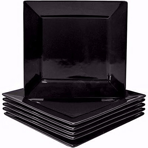 Square Dinner Plates - 6 Pieces - Black