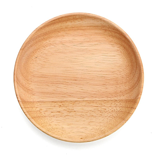 14cmX2cm Home Kitchen Dinner Vintage Round Wooden Plate Breakfast Food Snack Serving Trays Salad Yellow Bowl Platter