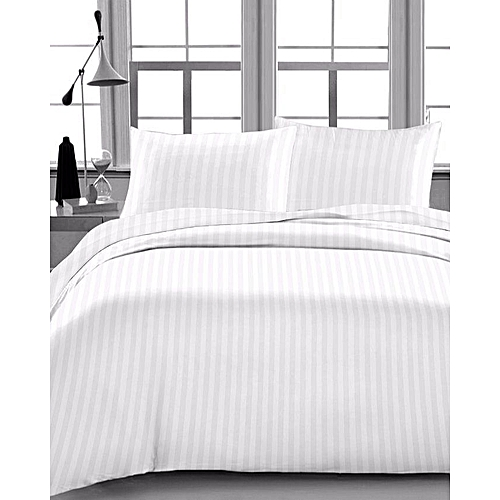 Bedding Collection Flat Bedsheet Striped Plain White Egyptian Cotton