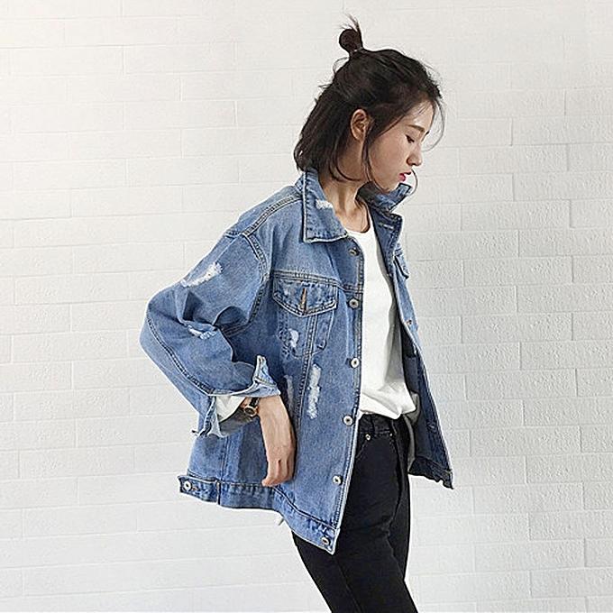 Fashion Fashion Women Autumn Winter Denim Jacket Vintage Long Sleeve