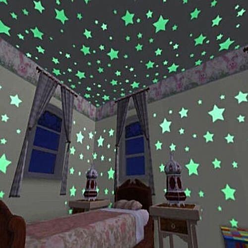 100 X Stars Wall Sticker Phosphorescent Stickers Baby Room Window Ceiling Decor Sticker