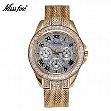 2aeff30be9f Miss Fox Diamond Watch Fashion Brand Gold Women Dress Campaign Relogio  Feminino Dourado Water Resistant Steel