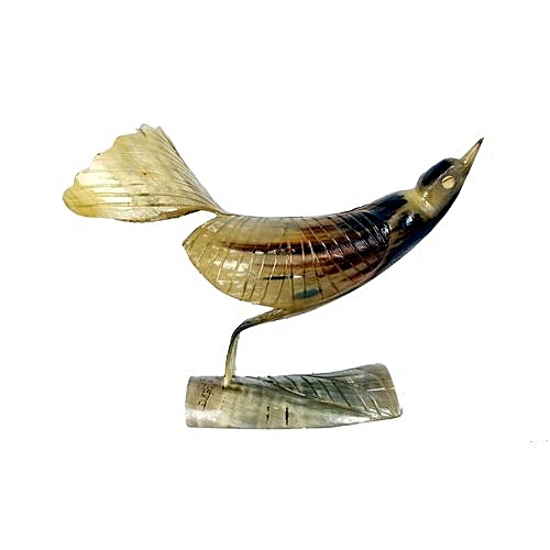 Artwork Of A Bird Carved And Made Only From Cow Horn - Brown
