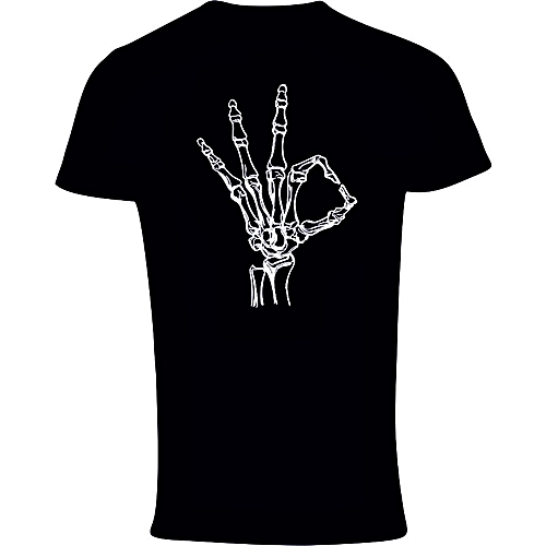 Skeleton OK Print T-Shirt - Black