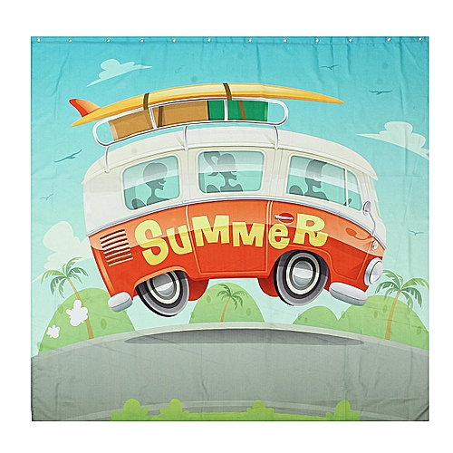 Camper Van In Summer Vacation Shower Curtain Bathroom Fabric & 12hooks 71*71inch