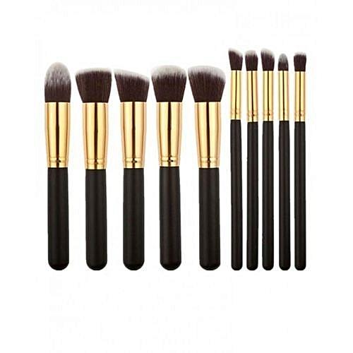 Generic 10 Pieces Professional Kabuki Makeup Brush Set - Black/Gold