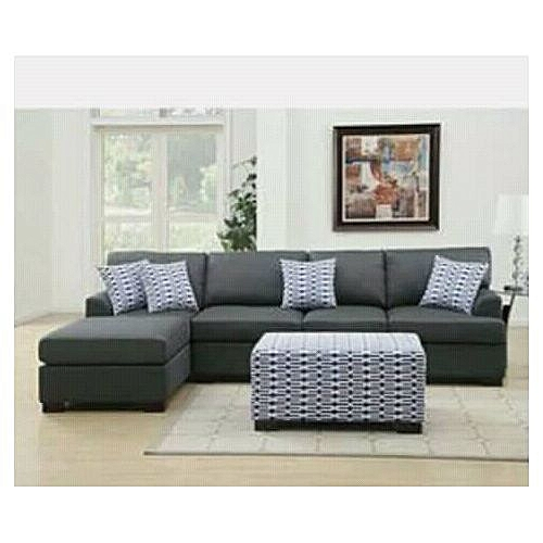 5 Seater L Shape Fabric Sofa With Free Ottoman - Gray