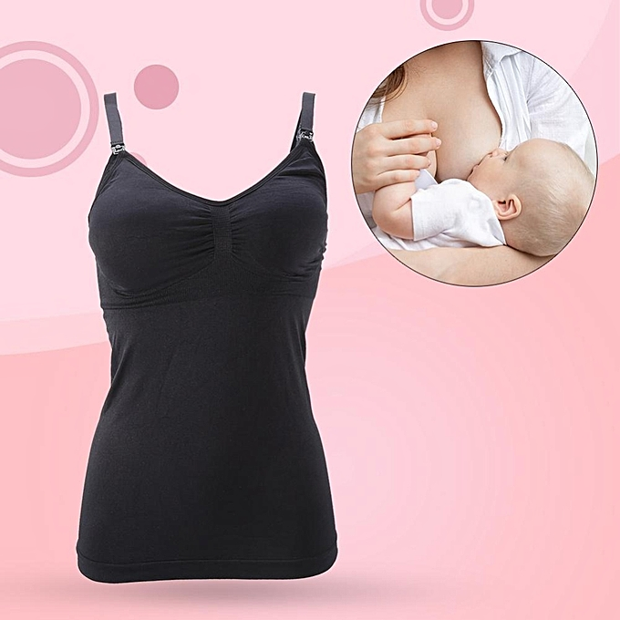 edf75c5cbdf Women Pregnancy Breast Feeding Vest Nursing Tank Top Seamless Maternity Bra(Black  L)