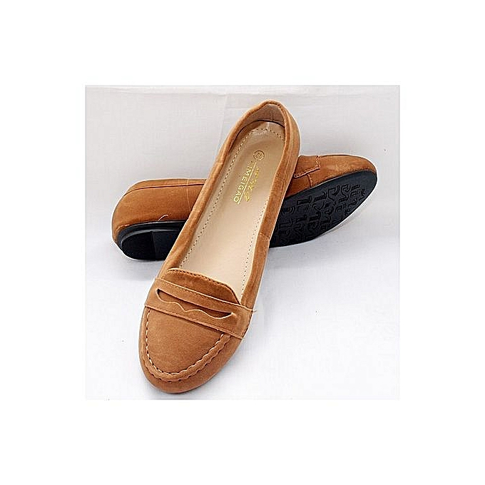 36555f746 Amg Aimeigao Women Suede Flat Shoe - Brown   Jumia.com.ng