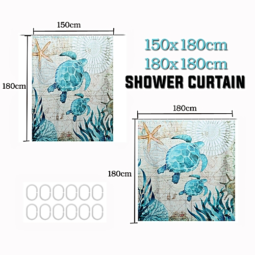 3D Polyester Waterproof Shower Curtain Turtle Home Bathroom New