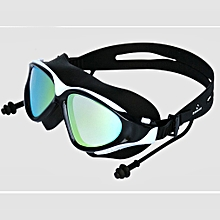 b3340e1bf98 Large Frame Adult Anti-fog Waterproof UV Protection Swimming Goggles  Glasses Black