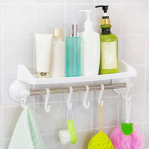 Powerful Suction Bathroom Hanging Storage Rack With Hook Holder Organizer