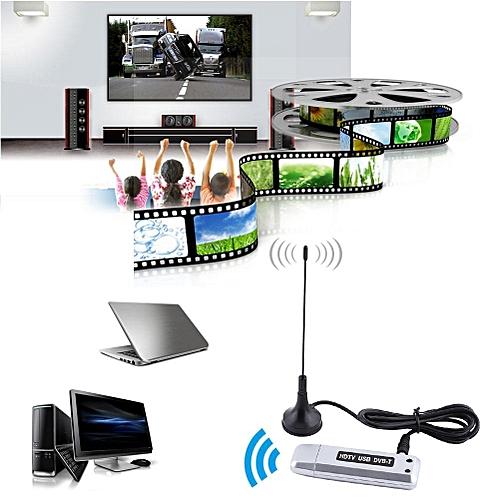 USB 2.0 DVB-T Digital TV Receiver HDTV Tuner Dongle Stick Antenna IR Remote Free