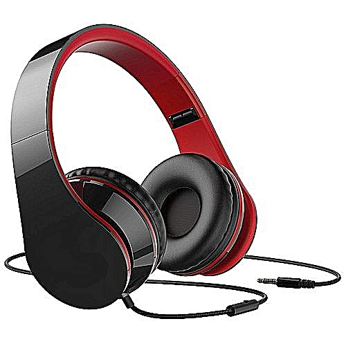 Wired Headphones Stereo Foldable Lightweight Headset—black
