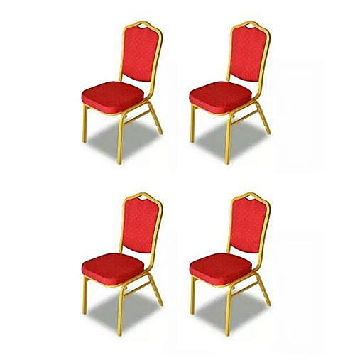 Quality Banquet Hall Chair - Red (set Of 4) LEVEL UP