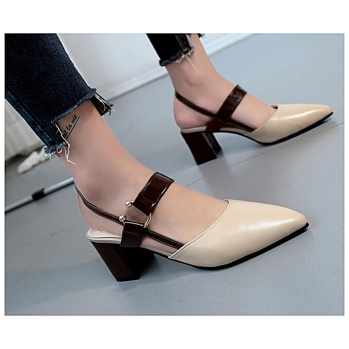 19f3597e9 Women s Sandals PU Leather Thick Heel High-heeled Pointed Buckle Beige  Shoes For Women