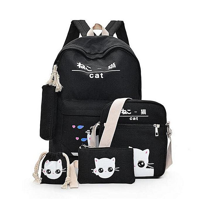 Fashion 5Pcs Women Backpack Girl School Bookbag Shoulder Bag Rucksack  Travel Bag 4 Set Kids Canvas e5dfc7fa66ce6