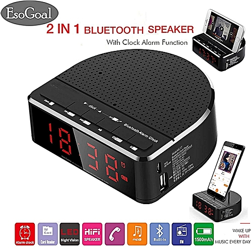 Digital Alarm Clock Radio With Bluetooth Speaker.Red Digit Display With Phone Holder.2 Dimmer.FM Radio. AUX-in.USB Port Bedside Led Alarm Clock HT-S