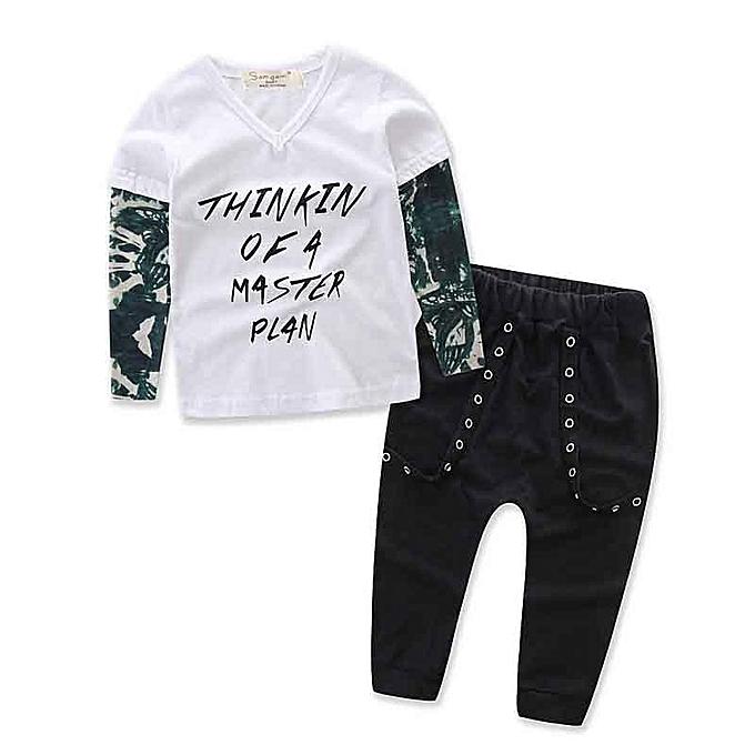 51a1bce219bd Generic Newborn Toddler Infant Baby Kids Boy Clothes T-shirt Tops+ ...