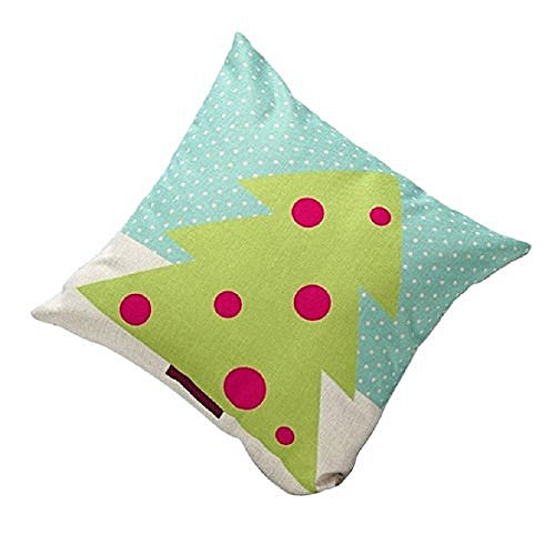 Sankuwen Home Decoration Christmas Pillow Cushion Cover (Green Tree)