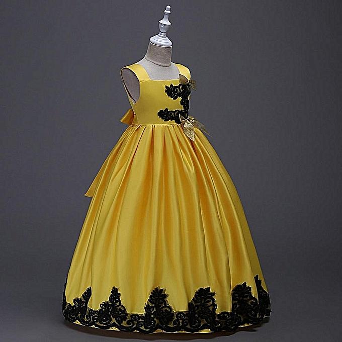 d247cb7858 BALOYLO Children Suspended Wedding Long Dress -Yellow