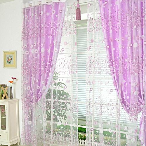 Flower Sheer Curtain Tulle Window Treatment Voile Drape Valance 1 Panel Fabric