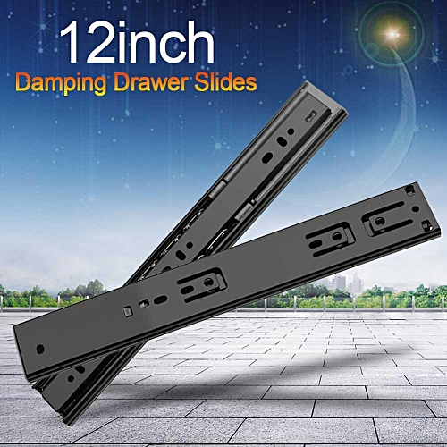 2pcs Damping Drawer Slides Full Extension Furniture Wardrobe Kitchen Cupboard Accessory 12in