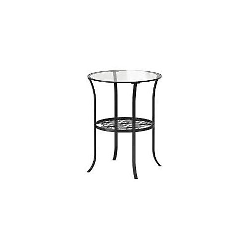 Side Table, Black, Tempered Clear Glass