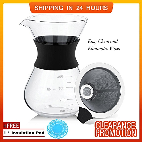 [Free Gift] SHANYU Manual Hand Drip Coffee Maker Glass Pot With Stainless Steel Filter