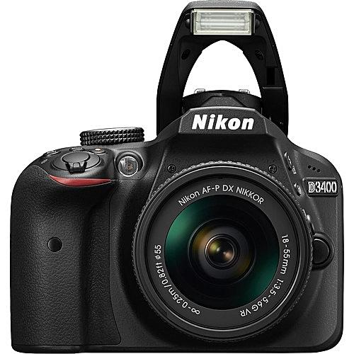 D3400 DSLR Camera With AF-P 18-55mm Lens + Strap + Charger + USB Cable + Battery - (Black)