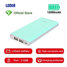 Power Bank 10000mAh Li-Battery Dual USB Port - Blue