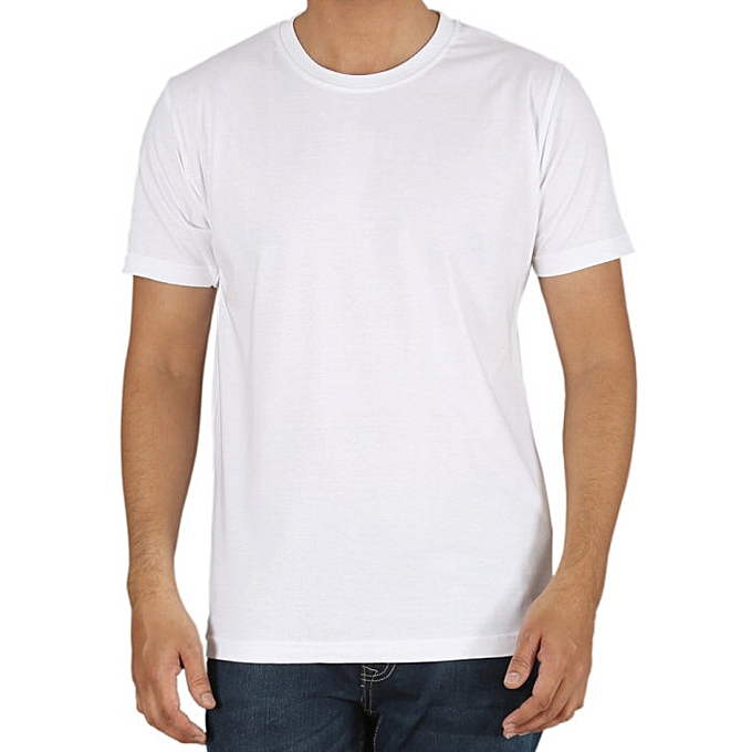 3d37a537b6e BnB Men's Plain White Round Neck T-Shirt