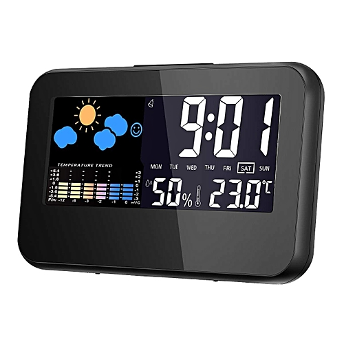 Digital Alarm Clock Multi Function Of Time, Date, Temperature, Humidity Percentage. Alarm Clock With Color Screen, Snooze Button And Light. Clock With Meteorological Station.