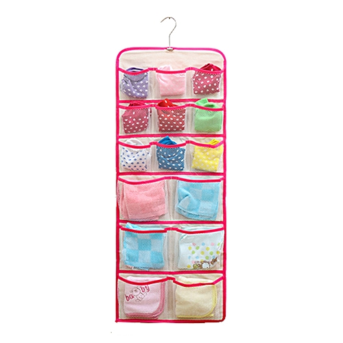 Braveayong 22Pocket Hanging Underwear Bra Double Sided Storage Organizer Over The Door Bag -Hot Pink