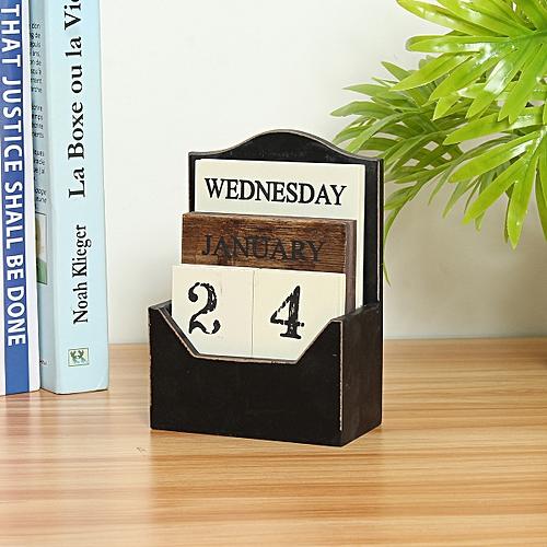 Rustic Vintage Wood Block Perpetual Calendar Wooden Office Home Desk Decor