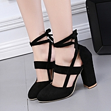 2a4ed95fa271 Stylish Women Thick Heel Single Shoes Ankle Strap Sandal