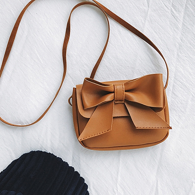 769d215792 Children Girls Cute Bowknotl Leather Handbag Shoulder Bag Mini Crossbody Bag