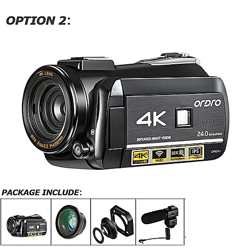 """ORDRO HDR-AC3 UHD 4K Digital Video Cameras FHD 1080P 24MP WiFi 3.0"""" Touch Screen 30x Zoom Mini Camcorders DV Cam Digital Cameras POETRY"""