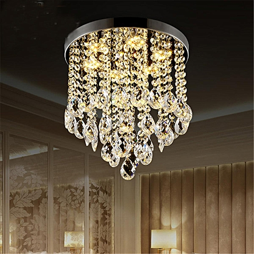 9.8'' Dia Modern Chandelier Crystal Lamp Light Ceiling Mount Fixture Home Decor#Warm White Light