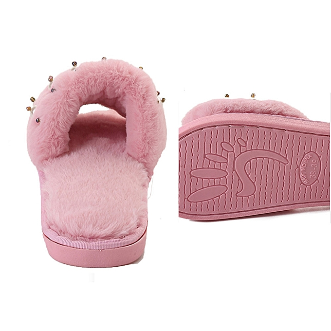 c4243fa4 LightningWomens Ladies Fluffy Faux Fur Flat Slipper Flip Flop Sandal Shoes  PK/39 -Pink