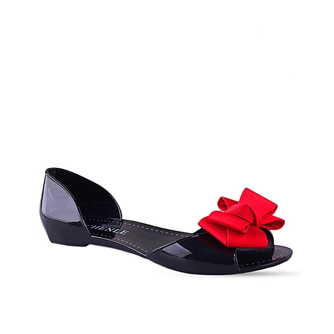 e5cbb276a Chenle Jelly Flats With Bow- Red
