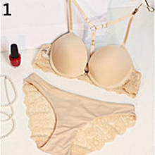 9ee07e0618 Women Seamless Front Closure Push Up Bra + Floral Lace Briefs Bra Set-Beige