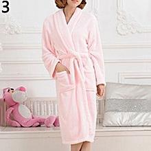 Men Women Loose Long Sleepwear Comfortable Bathrobe Coral Fleece Spa Robe -Pink 631e384ad