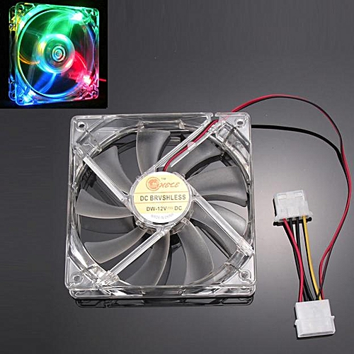 Muliawu Store Colorful Quad 4-LED Light Neon Clear 120mm PC Computer Case Cooling Fan Mod-Clear