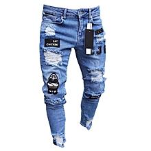 de05db614 Men Denim Jeans Ripped Pants Cotton Slim Fit Strechable