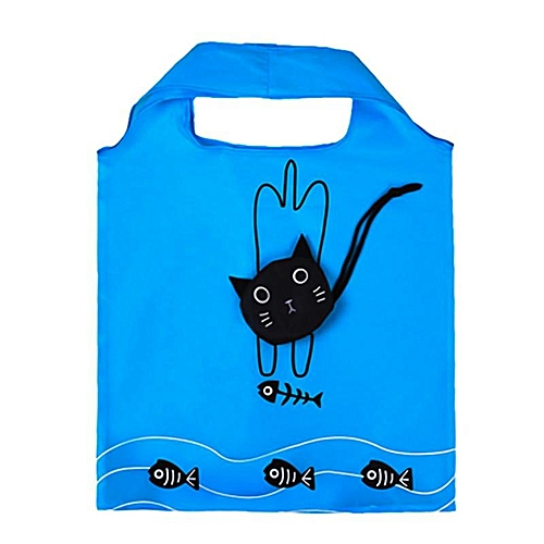 Convenient Housewife Large Capacity Waterproof Shopping Bag Lovely Useful Nylon Foldable Black Cat Eco Shopping Bag