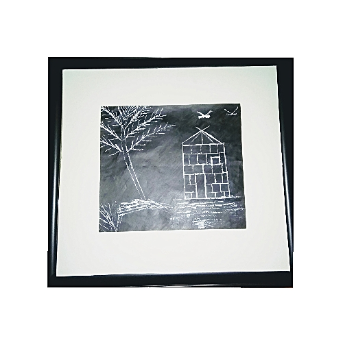 Beautifully Designed Village Setting Abstract Painting, Black