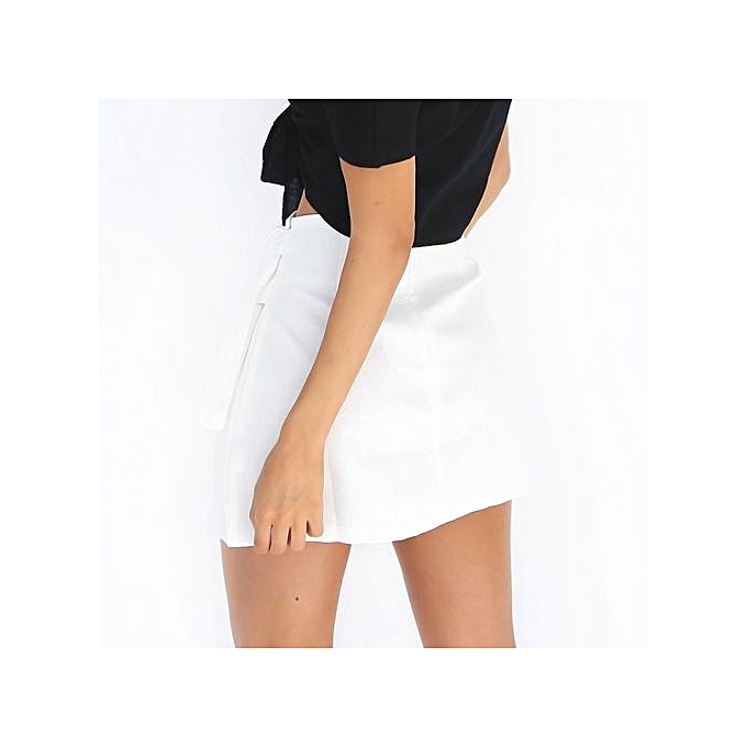 15b5376ef7 Women's Sexy Criss Cross Tight Bodycon Faux Suede Stretch Short Mini Skirt- white