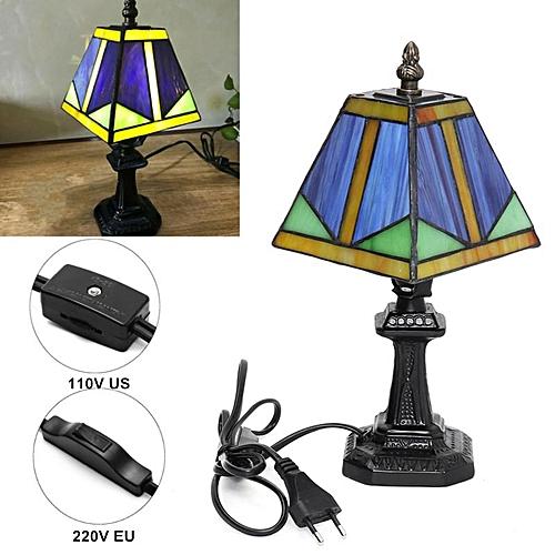110V Tiffany Style Table Reading Light Lamp Table Desk Home Lighting Bedroom Decor US